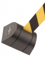 Wall mounted barrier 897, black with yellow/black webbing